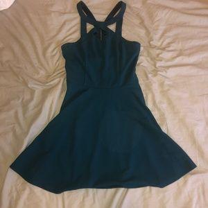 Short Teal Skater Dress